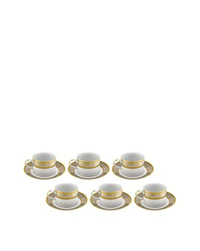 10 Strawberry Street Set of 6 Elegance 8-Oz. Tea Cup & Saucers
