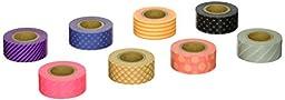MARK\'STYLE TOKYO Japanese Washi Masking Tape Set of 8 Mini Rolls- Starter Set Maste Visible Neon Patterm