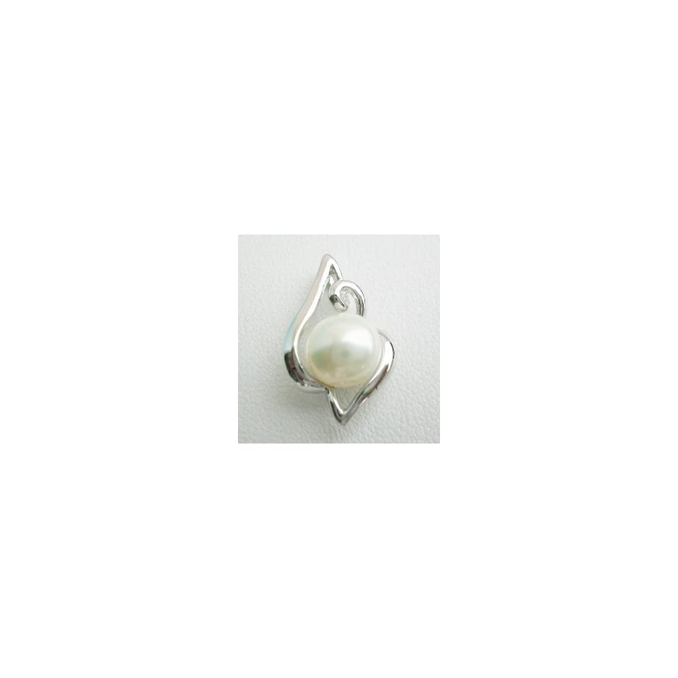 Pearl Pendant on Sterling Silver White Gold Plated Bail