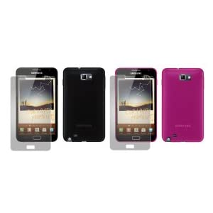 totaldigitalstores - Gel Case X 2 for Samsung Galaxy Note + 2 Screen Protectors (2 Pack contains 1 X Black & 1 X Pink)