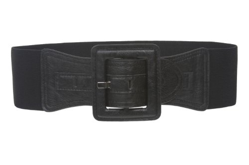 """3"""" Wide High Waist Fashion Stretch Belt with Square Buckle Size: One Size: 27"""" ~ 35"""" Color: Black"""