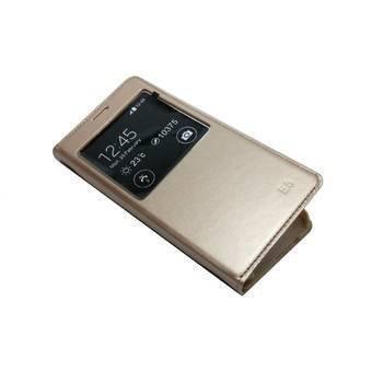 E-com Premium Leather Flip Cover Case For Samsung Galaxy On7 Gold