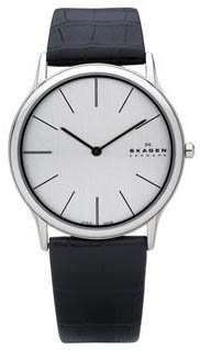 Skagen Denmark Mens Watch Super Slim Chrome Black 858XLSLC
