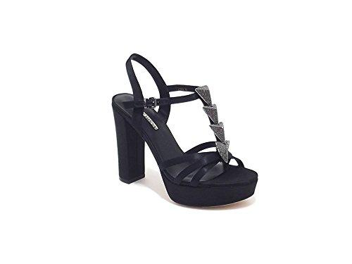 Luciano Barachini scarpa donna, modello sandalo gioiello 6258, in raso, colore nero