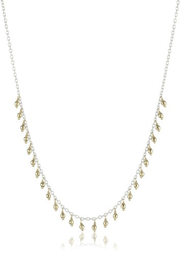 Mizuki Silver Chain and Gold Bead Fringe Necklace