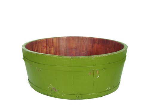 Antique Revival Wooden Round Basin Bucket, Green (Antique Pitcher And Basin compare prices)