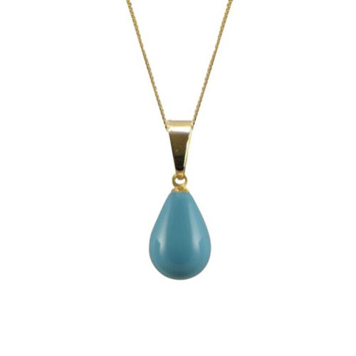 Raindrop Turquoise Shell Pearl 24ct Vermeil Pendant Necklace