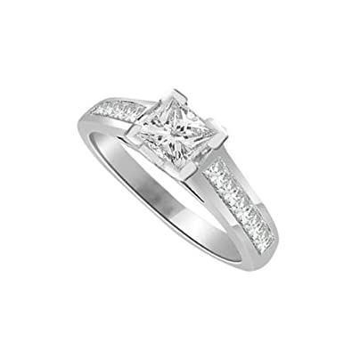 0.55ct G/VS1 Solitaire Diamond Engagement Ring for Women with Princess Cut Shoulder set Diamonds in 18ct White Gold