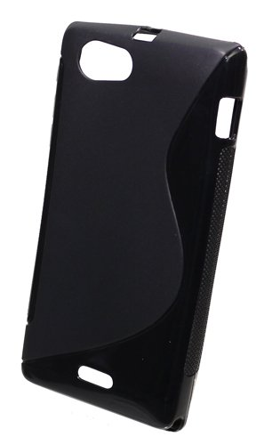 Trendline24 Soft Skin Case Design S-curve schwarz für Sony Xperia J ST26i - inkl. samtweichem Handy/-Zubehörtransportbeutel