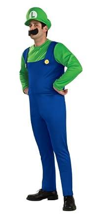 Super Mario Brothers Luigi Costume, Blue/Green, Small