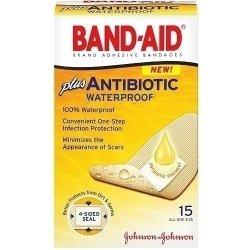Band-Aid Adhesive Bandages Plus Antibiotic Waterproof -- 15 Bandages