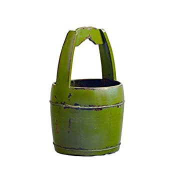 Antique Revival Ridged-Handle Wooden Water Bucket, Green