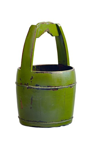Antique Revival Ridged-Handle Wooden Water Bucket, Green 0
