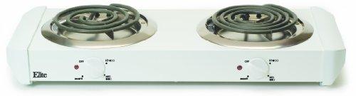 Maximatic Edb-302 Elite Cuisine 1000-Watts Double Burner Hot Plate, White