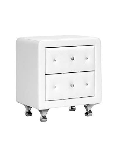 Baxton Studio Stella Faux Leather Upholstered Nightstand, White