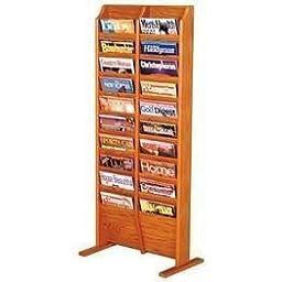 Wooden Mallet 20-Pocket Cascade Free-Standing Magazine Rack, Medium Oak