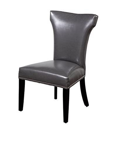 Bassett Mirror Company Nelson Shaped Nailhead Parsons Chair, Grey