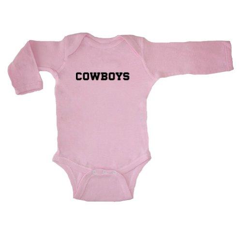 Mashed Clothing Unisex Baby Cowboys (Black Print) Long Sleeve Bodysuit (Pink, 6 Months)