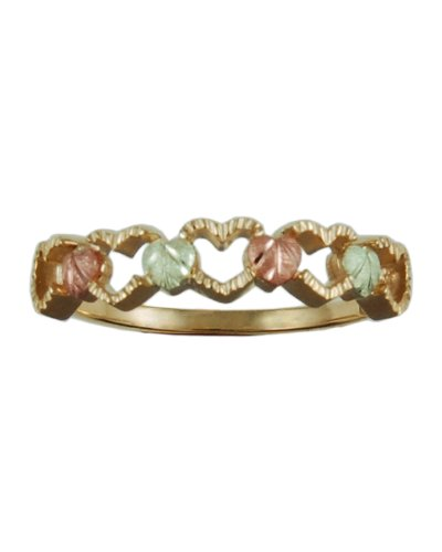 Womens 10k Yellow Gold, 12k Pink Gold, 12k Green Gold Grape Leaves and Grapes Black Hills Gold Motif Ring, Size 5