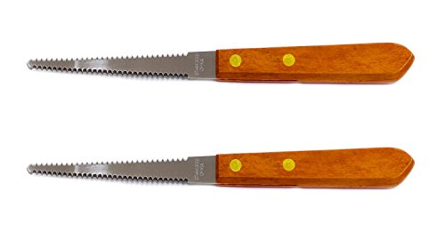 Grapefruit Knife - Serrated Stainless Steel Blade with Wooden Handle (Set of 2 Knives)