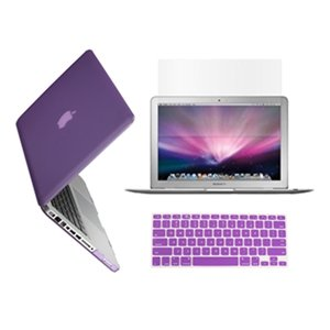 "Topcase 3 In 1 Rubberized Purple Hard Case Cover And Keyboard Cover With Lcd Screen Protector For Macbook Pro 13-Inch 13"" (A1278/With Or Without Thunderbolt) + Topcase Mouse Pad"