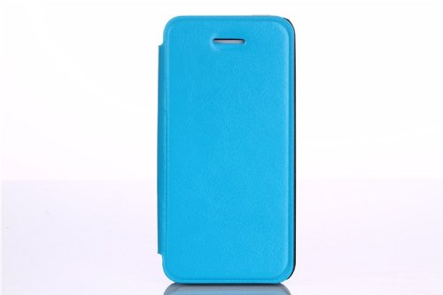 Helpyou Sky Blue Iphone 5C Lovely Crazy Horse Lines Faux Leather Slim Folio Stand Skin Wallet Case With Card Slots Cover For Apple Iphone 5C front-56307