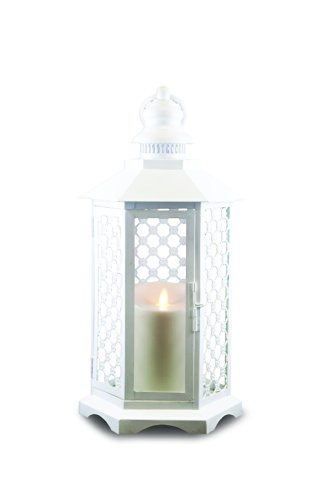 GKI/Bethlehem Lighting Lattice Luminara Lantern, 16-Inch, White