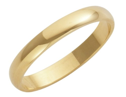 Wedding Ring, 9 Carat Yellow Gold Heavy D Shape, 3mm Band Width