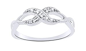 White Natural Diamond Infinity Ring In 14k White Gold Over Sterling Silver (0.02 Cttw)