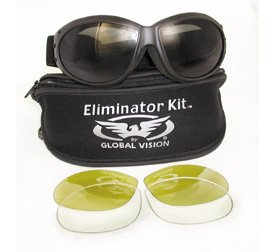 Global Vision Eliminator Red Baron Motorcycle/aviator Goggles Googles Day Night Kit Includes Interchangeable Smoke, Clear and Yellow Tint Lenses, and a Neoprene Zipper Bag with Lens Dividers and Lenses are easy to change.