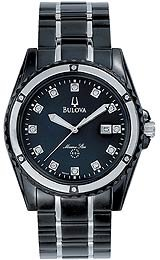 Bulova Marine Star Collection Japanese Quartz Movement Black Mother-of-Pearl Dial Men's Watch #98D107