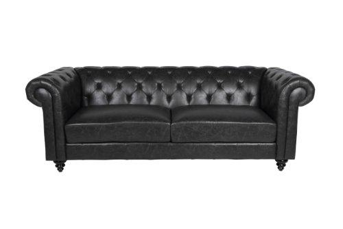 AC Design Furniture 44067 Chesterfieldsofa Sören 3-Sitzer, Bezug Kunstleder schwarz antik, BHT: circa 219 x 78 x 88 cm