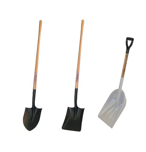 Midwest MWC-0003 3-Piece Homeowners Shovel Kit With Round Point Shovel, Square Point Shovel & Scoop Shovel