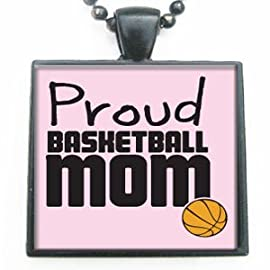 Proud Basketball Mom Glass Tile Pendant Necklace with Black Chain