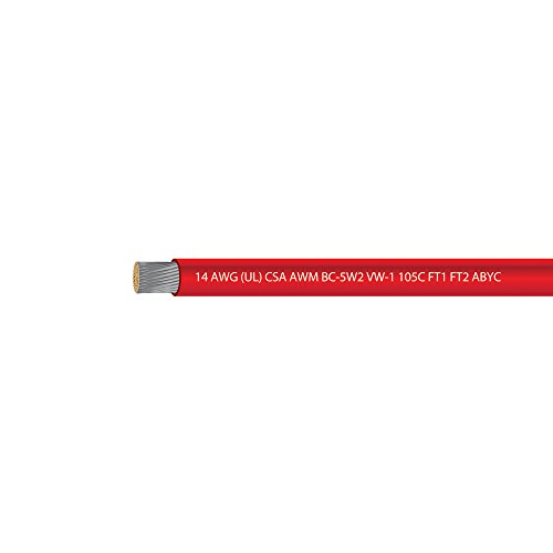 14 AWG UL Approved Marine Grade Primary Tinned Copper Boat Wire Rated 600 Volts - EWCS Spec - MADE in USA! - RED - 100 FEET (Marine Grade Wire compare prices)