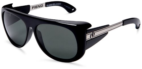 Electric Visual Fiend Sunglasses,Gloss Black Frame/Grey Lens,One Size