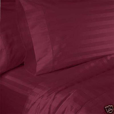 Stripes Burgundy 330 Thread Count Attached Queen Size Waterbed Sheet Set With Pole Attachements 100% Egyptian Cotton By Sheetsnthings