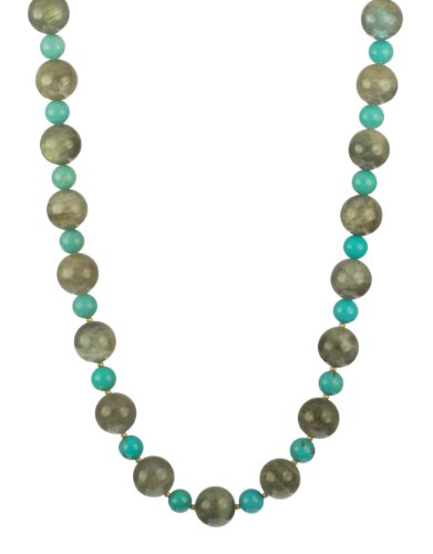 Labradorite and Turquoise Bead with Gold Plated Sterling Silver Beads and Lobster Claw Clasp Necklace, 18