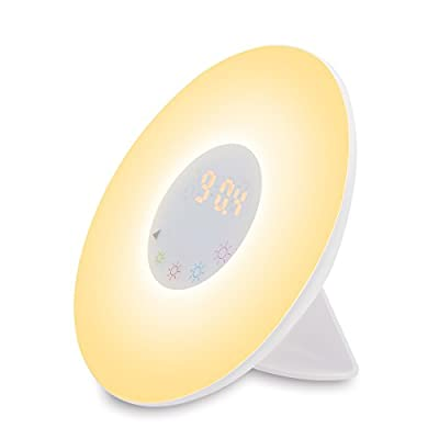 Wake-Up Light, Tomtoo Sunrise Simulation Alarm Clock, Nature Night Light, 5 Colors Atmosphere Lamp, 3 Brightness Bedside Lamp, Morning Wake-Up Alarm Light with Nature Sounds & FM Radio - Touch Control