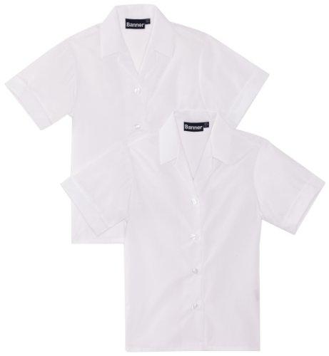 Blue Max Banner Girl's Revere Twin Pack Short Sleeve School Blouse, White, 36