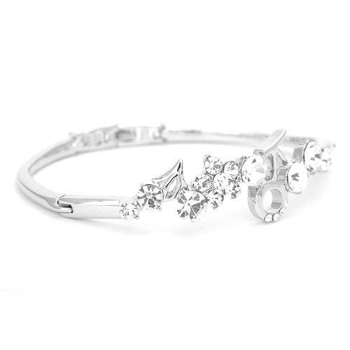 Perfect Gift - High Quality Elegant Flower Bangle with Silver Swarovski Crystals (1602) for Birthday Anniversary Free Standard Shipment Clearance