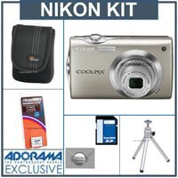Nikon Coolpix S4000 Digital Camera Kit, - Champagne Silver - with 8GB SD Memory Card, Camera Case, Table Top Tripod, Spare Rechargeable Li-ion Battery EN-EL10, 2 Year Extended Service Coverage