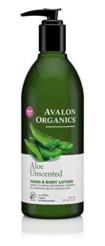 Avalon Organics Hand & Body Lotion, Aloe Unscented, 12 Ounce