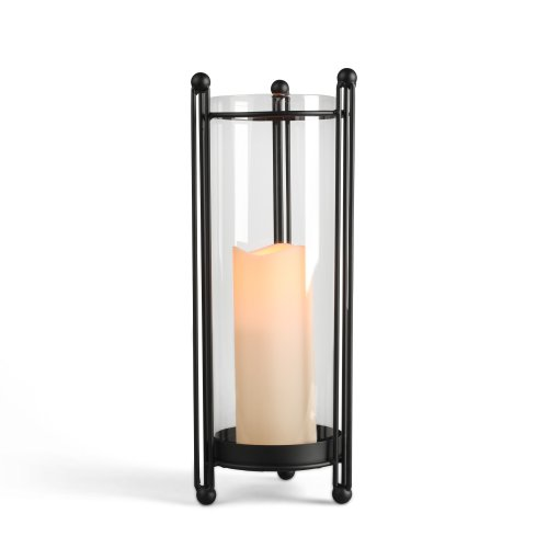 Gerson 15-Inch Black Metal and Glass Table Top Candle Holder with Hurricane Glass and 3 by 6-Inch Indoor/Outdoor LED Candle