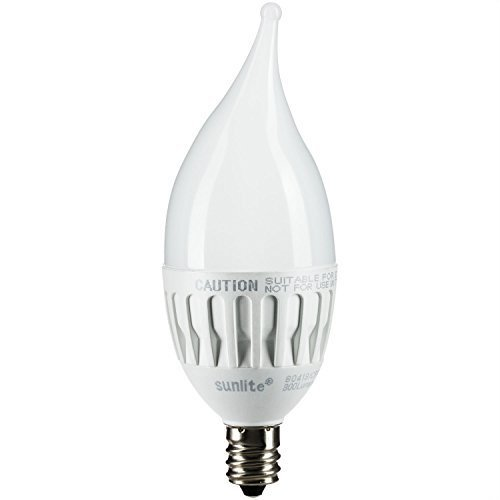 Sunlite CFF/4.5W/E12/D/E/27K LED CFF 4.5-watt 120-volt Candelabra Base Flame Tip Chandelier Light Bulb, 2700K 300 Lumens Dimmable Energy Star, Warm White by Sunlite