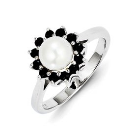 Genuine IceCarats Designer Jewelry Gift Sterling Silver Rhodium 6Mm Fw Cult Button Pearl & Sapphire Ring Size 7.00
