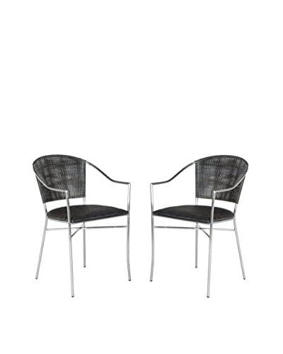 Safavieh Set of 2 Melita Arm Chair, Black