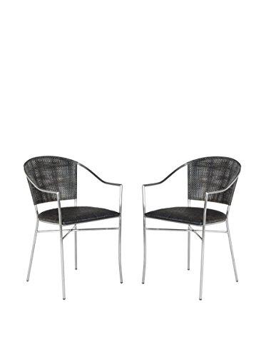 Safavieh Set of 2 Melita Arm Chair, Blacks