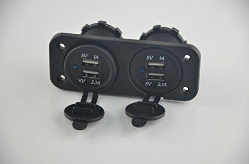 Eathtek New Universal Waterproof 4 Port Usb Charger Socket Outlet 5V Output Total 6.2A Panel Mount Jack Motor 4 Usb Charger Dual 1A And Dual 2.1A Bracket Comes Togther