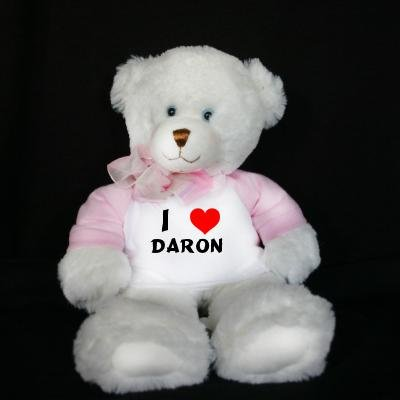 Plush White Teddy Bear (Dena) toy  I Love Daron